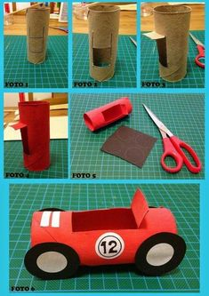 Simple car out . Projects For Kids, Crafts For Kids, Car Crafts, Rolling Car, Simple Wedding Decorations, Toilet Paper Roll Crafts, Preschool Activities, Handicraft, Diy Art