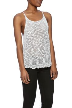Slub knit sweater a-line tank with scoop neck.  Sweater Tank by WILLIAM B. Clothing - Tops - Sleeveless Clothing - Tops - Tees & Tanks Los Angeles California