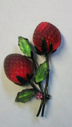 Vintage AUSTRIA Molded Glass Strawberry Fruit Pin, 1940's-50's-50's