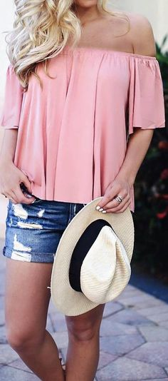 e55c47cf919b 35 Popular and Great Outfits for Summer. Stylish Summer Outfit Blush Top Plus  Hat Plus Shorts