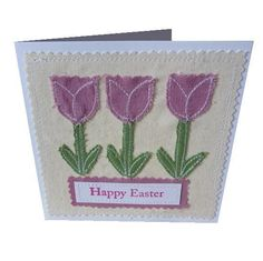 Happy Easter applique tulip textile card  £3.50