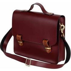N'Damus London - Lombard Oxblood Leather Three Way Briefcase (€385) ❤ liked on Polyvore featuring bags and briefcases