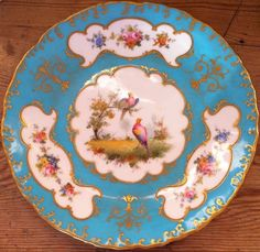 antique plate turquoise border