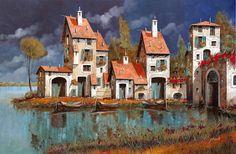 Il Villaggio Sul Lago by Guido Borelli - Il Villaggio Sul Lago Painting - Il Villaggio Sul Lago Fine Art Prints and Posters for Sale