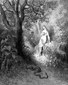Gustave Dore : Eve is tempted by the serpent