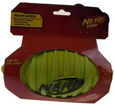 """Nerf Dog Green Interactive Squeaker Toy 7"""" Durable Rubber Football Squeaks NEW - FUNsational Finds - 1"""