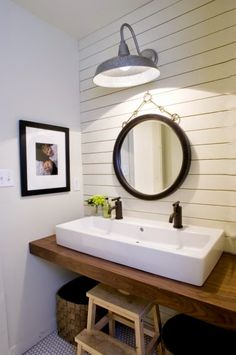 I've been loving shiplap walls in bathrooms for a while now.  I didn't realize just how much until I went through my Pinterest bathroom boa...
