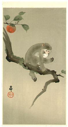 Ohara Koson: Monkey in a Tree - Early 20th century