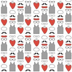 RrpatroonRed White and Black Parisian fabric by ankepanke, available from Spoonflower