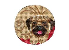 "Round Animal Ornament - Pug 2 3/4"" diameter - $24.00"