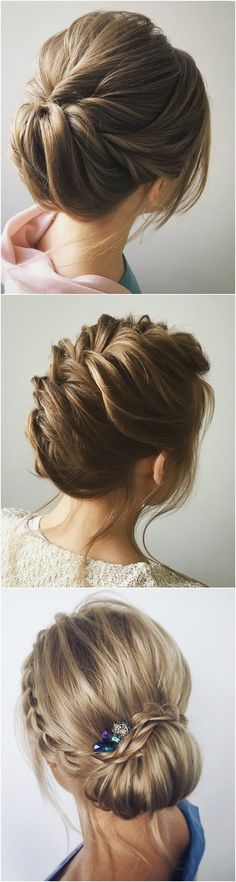 romantic twisted updo wedding hairstyle