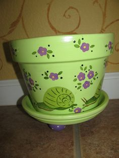 Snail Flower pot  Greens and Purples by bubee on Etsy, $20.00