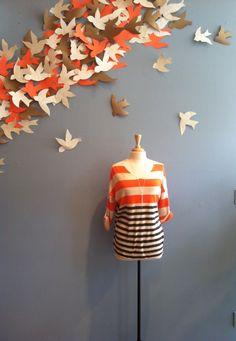 Orange/Cream/Grey Stripe Light Weight Sweater with Button up Sleeve by Ya $52.00