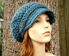 Hand Crocheted Hat Womens Hat - Crochet Newsboy Hat in Teal Blue Fall Fashion