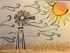Windmill drawing Windmill Drawing, Windmill Tattoo, Windmill Art, Amazing Artwork, Cool Artwork, Drawing Projects, Art Projects, Little Doodles, Door Mats