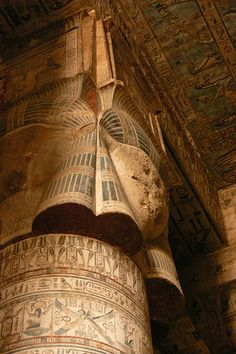 Roof and wall of Hypostyle hall Dendera Temple.