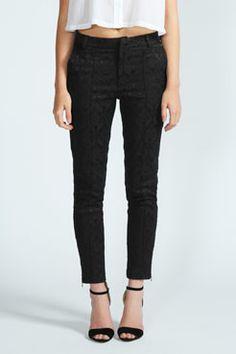 Nicole Jacquard Skinny Cigarette Trousers at boohoo.com £20