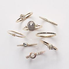 Vale Jewelry white, black, salt & pepper and gray diamond rings