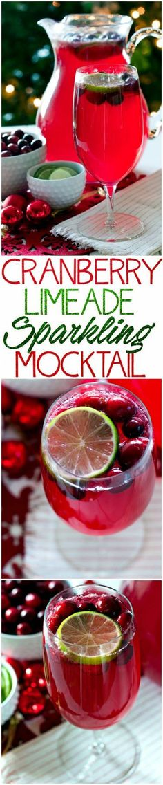 Make this Cranberry Limeade Sparkling Mocktail for your next holiday party. It… Make this Cranberry Limeade Sparkling Mocktail for your next holiday party. It's to perfect festive mocktail for Christmas and New Year's! Christmas Drinks, Holiday Drinks, Noel Christmas, Summer Drinks, Fun Drinks, Holiday Recipes, Alcoholic Drinks, Beverages, Drinks Alcohol