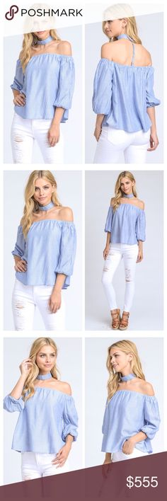Off Shoulder Gigi Collar Blouse With puffy sleeves, flattering off-shoulder cut, and wide gigi choker collar that's attached on the back, this peasant blouse is the perfect top for summer days and nights.    Fabric:  50% COTTON, 50% NYLON 😎 Posh Mishmosh Tops Blouses