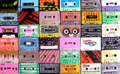 Cassette tapes 80s music.. my 3 year old son thinks these are faces