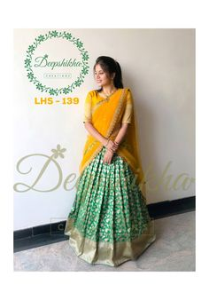 LHS Stunning green color lehenga and mustard color blouse with net dupatta. For queries kindly WhatsApp: 9059683293 Half Saree Lehenga, Lehnga Dress, Bridal Lehenga Choli, Anarkali, Black Lehenga, Lehenga Blouse, Half Saree Designs, Lehenga Designs, Saree Blouse Designs