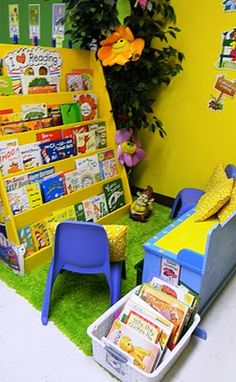 Garden reading corner. Change out the books every month or seasonal to go with our theme. I would have a little creature in the corner for the students to read to and hang with