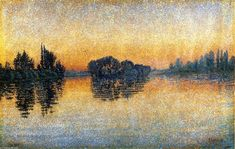 Sunset, Herblay, Opus 206, Oil On Canvas by Paul Signac (1863-1935 ...