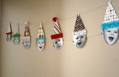 garland with various party hats and various facial expressions for bday party