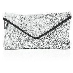 Mr. Taylor Two-Tone Pebbled Leather Envelope Zip Clutch