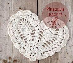 crochet pineapple hearts. ❤CQ #crochet #hearts #valentines