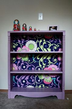 Book shelf Makeover! Paint, wallpaper or wrapping paper, and modge podge