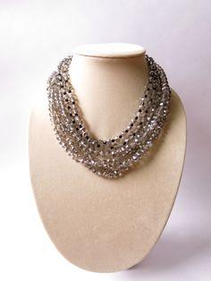 ON SALE Gray Black Swarovski Crystal Statement Necklace, Chunky Crystal Necklace, Wedding Jewelry, Bridal Jewelry, Bridesmaid Bracelet on Etsy, $29.37 CAD