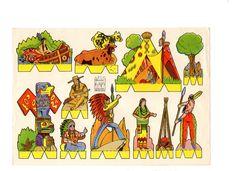 Indios y vaqueros, recortable años 60 de Hóptimo - AD España, © D.R.
