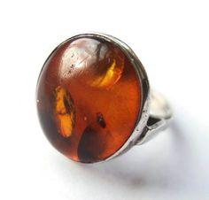Vintage Baltic amber modernist ring, sterling silver hallmarked Gdansk Poland, 1980s, large statement ring, Polish jewellery, orange. https://www.etsy.com/listing/255827829/vintage-baltic-amber-modernist-ring