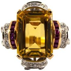 Diamond, Ruby, Citrine, Yellow Gold Cocktail Ring