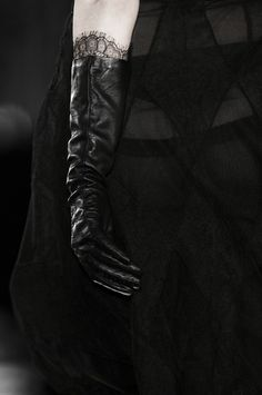 Leather gloves antonio berard, with a ivory wedding dress and minimal black trim