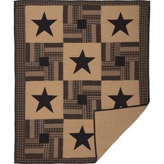 Quilted Throw Blanket Black Star Tan Check Patchwork Blocks 50 x 60 inch #VHCBrands #RusticPrimitive