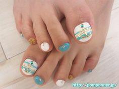 Marine blue and white nail