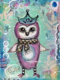 Owl Mixed media painting Original Children's art Wall decor 6 x 8
