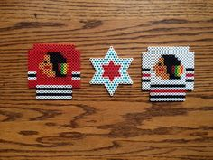 Chicago Blackhawks Perler Bead set by CutesNBootsPerlers on Etsy