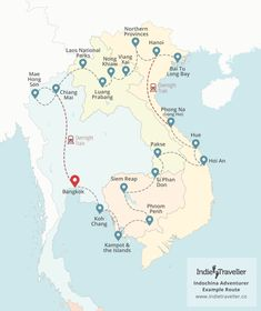 Map of the route for Cambodia & Vietnam on a Shoestring | Travel ...