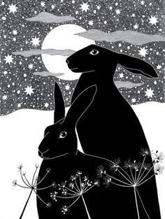 Art print Black hares Ink drawing Ink Illustration 10 by caitlihne Art And Illustration, Rabbit Illustration, Street Art, Rabbit Art, Bunny Art, Printmaking, Folk Art, Artsy, Creatures