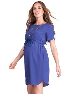Seraphine's Blue Open Back Maternity Dress offers a flattering fit & a chic rear view – it's perfect for every stage of pregnancy. Cute Maternity Style, Blue Maternity Dress, Maternity Work Clothes, Maternity Fashion Dresses, Clothes For Pregnant Women, Stylish Maternity, Fashion Outfits, Lace Dress Styles, African Wear Dresses