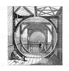 Interior of Crystal Palace, London, UK | Antique Architectural Illustrations royalty-free stock illustration