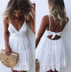 Summer Women Lace Dress Sexy Backless V-neck Beach Dresses 2018 Fashion Sleeveless Spaghetti Strap White Casual Mini Sundress - Wedding Ceremony White Lace Mini Dress, Backless Mini Dress, White Dress Summer, Little White Dresses, White Beach Dresses, White Dress Casual, Backless Summer Dresses, Casual Beach Dresses, Beach Vacation Dresses