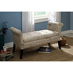 @Overstock - This gorgeous bench has been upholstered in flax fabric in a French inspired script fabric along with flared arms and legs. This bench will look lovely in your bedroom, whether as a showcase piece or a collaboration with your existing furniture.http://www.overstock.com/Home-Garden/Frenchy-Storage-Bench-with-Script-Fabric/6605230/product.html?CID=214117 $249.99