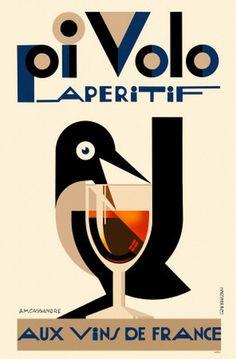 FRANCE - Cassandre - affiche publicitaire pour les apéritifs Pivolo