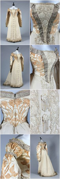 A Charles Frederick Worth brocaded satin Russian court dress, circa 1890, un-labelled, the satin woven with gold silk roses, the front plastron and skirt panels entirely covered with floss silk and pearl beaded roses, the bodice with hanging sleeves edged in silver braid. Provenance: Sophie Benckendorff (nee Shuvalov) c.1860-1925. Kerry Taylor Auctions. CLICK FOR LARGER IMAGES.