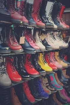 love this! bright colors, combat boots, doc martens ♥ #womens #fashion #boots #shoes @AllyLinden